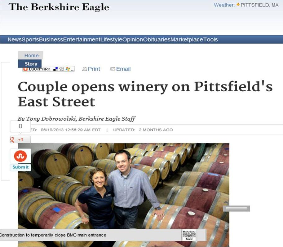 Couple opens winery on Pittsfield - Cover